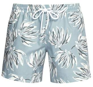 Commas - Banana Leaf Print Swim Shorts - Mens - Light Blue