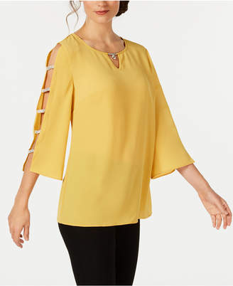 JM Collection Jeweled-Neck Ladder-Sleeve Top