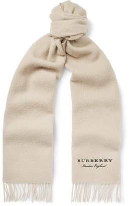 Burberry Logo-embroidered Fringed Cashmere Scarf