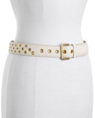 Prada beige leather grommet belt