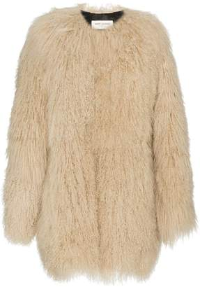 Saint Laurent oversized Mongolian lamb fur coat
