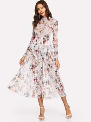 Shein Mock Neck Semi Sheer Midi Floral Dress