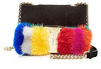 Salvatore Ferragamo Mini Vara Oversized Fur Bow Suede Crossbody