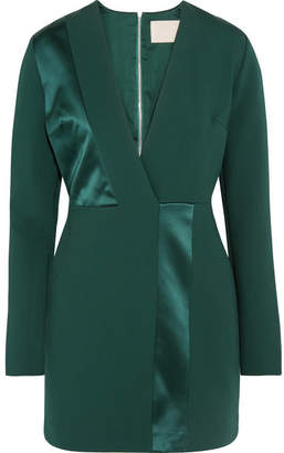 Dion Lee Silk Satin-paneled Jersey Mini Dress - Emerald