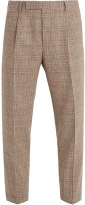 Gucci Checked slim-leg wool-blend trousers