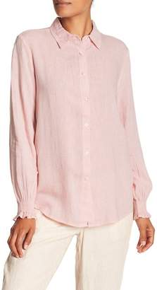 Joe Fresh Smocked Linen Blend Cuff Shirt