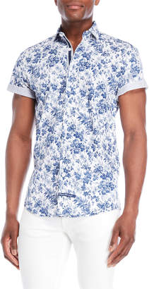 English Laundry White & Blue Floral Print Sport Shirt