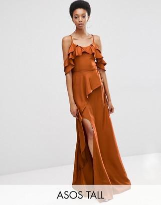 ASOS Tall ASOS TALL Cold Shoulder Ruffle Cami Maxi Dress $83 thestylecure.com