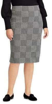 Lauren Ralph Lauren Plus Glen Plaid Wool Pencil Skirt