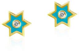 Amrapali Legend 18k Gold Mini Icon Star Stud Earrings w/ Turquoise Enamel & Diamonds