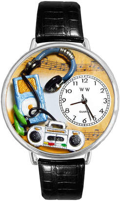 Whimsical Watches Personalized Music Lover Womens Silver-Tone Bezel Black Leather Strap Watch