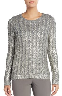 Laminated Metallic Cable-Knit Sweater