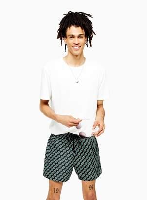 Topman Black and Green Geometric Print Swim Shorts