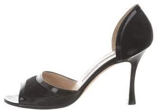 Manolo Blahnik Patent Leather Canvas-Trimmed Sandals
