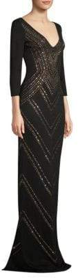 St. John Studded Jacquard Gown