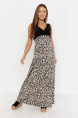 boohoo Petite Leopard Print Maxi Dress