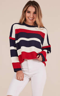 Showpo Dream In Colour knit sweater in red and navy stripe