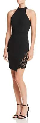Aqua Lace-Inset Asymmetric Body-Con Dress - 100% Exclusive