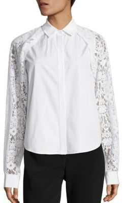 DKNY DKNY Collared Lace Button Shirt