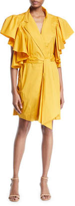 Johanna Ortiz Tulip Evolution Ruffled-Shoulder Belted Stretch Poplin Wrap Dress