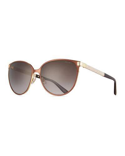 Jimmy Choo Jimmy Choo Posie Crystal-Temple Round Sunglasses, Brown