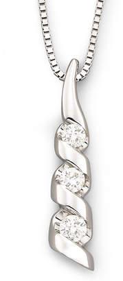 Sirena 1/8 CT. T.W. Diamond 14K White Gold 3-Stone Pendant Necklace