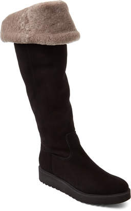 Luca Grossi Black & Taupe Real Fur-Lined Suede Over-the-Knee Boots
