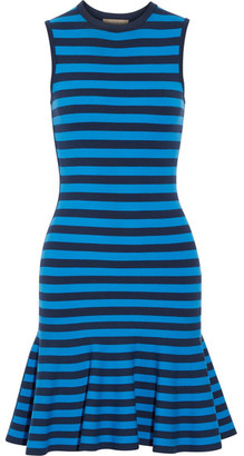 Michael Kors Collection - Striped Stretch-knit Mini Dress - Blue $895 thestylecure.com