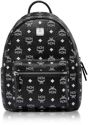 MCM Small Black And White Logo Visetos Stark Backpack