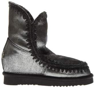 Mou Eskimo Silver Leather & Wool Boots