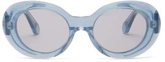 Acne Studios Mustang Oval Acetate Sunglasses - Womens - Blue