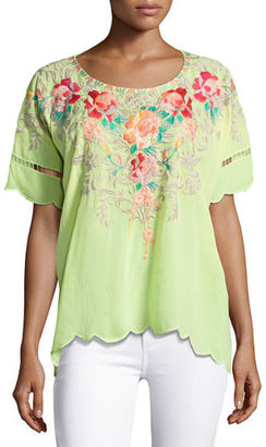 Johnny Was Jenn Embroidered Short-Sleeve Top, Plus Size $255 thestylecure.com