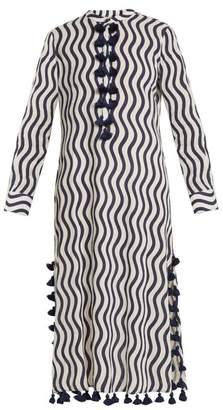 Figue Paoline Wave Print Tassel Cotton Kaftan - Womens - Blue Multi
