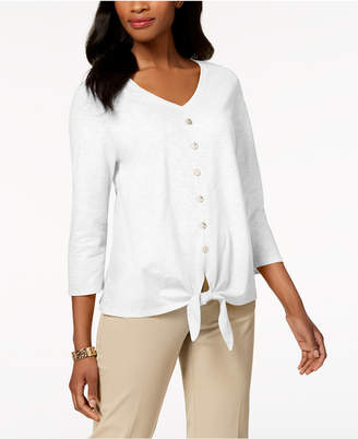 JM Collection Cotton Tie-Front Shirt, Created for Macy's
