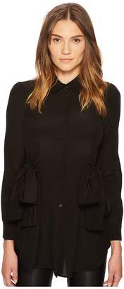 Moschino Side Bow Silk Button Up Top
