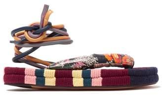 Isabel Marant Elliam Ankle Tie Sandals - Womens - Burgundy Multi