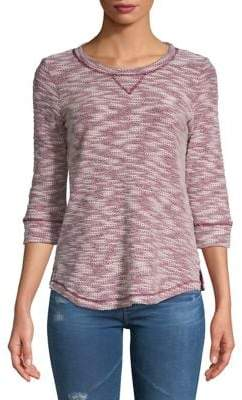 Karen Scott Petite Three-Quarter-Sleeve Marl Sweatshirt