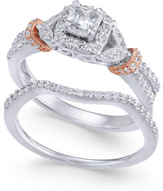 Macy's Diamond Two-Tone Bridal Set (5/8 ct. t.w.) in 14k White & Rose Gold