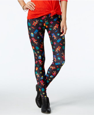 Planet Gold Juniors' Printed Holiday Leggings $20 thestylecure.com