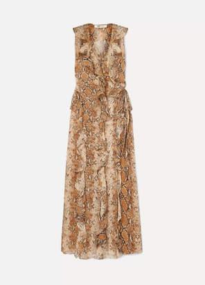 Diane von Furstenberg Lacey Ruffled Snake-print Silk-crepon Wrap Dress - Brown