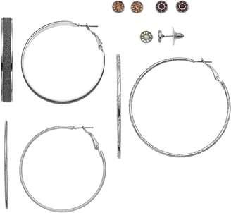 Mudd Nickel Free Hoop & Round Stud Earring Set