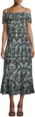 IRO Yonelia Floral Ruffle-Trim Midi Dress