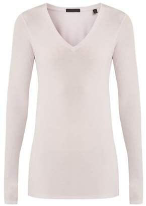 Atm - V Neck Ribbed Jersey Top - Womens - Light Purple