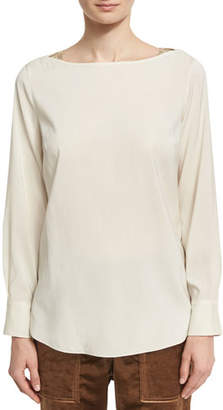 Brunello Cucinelli Long-Sleeve Stretch-Silk Boat-Neck Top with Monili Insets, Cream