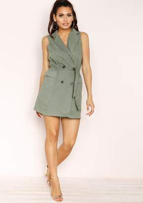 Missy Empire Missyempire Reanne Khaki Button Belted Dress