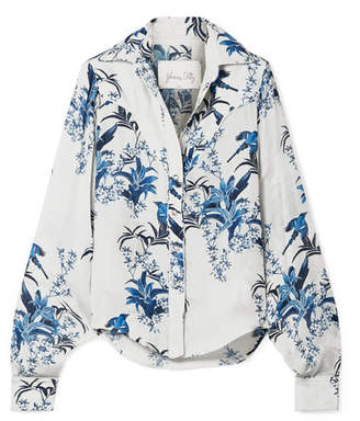 Johanna Ortiz Azalea Printed Silk-georgette Shirt - White