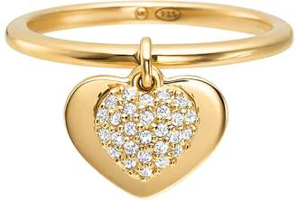 Michael Kors Kors Heart 14K Gold Plated Sterling Silver Pave Ring