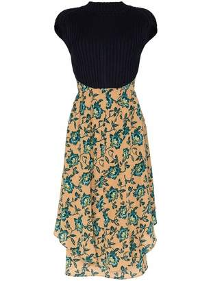 Chloé Sleeveless Floral Silk and Knit Midi Dress