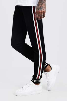 boohoo Jersey Cuffed Joggers With Side Tape