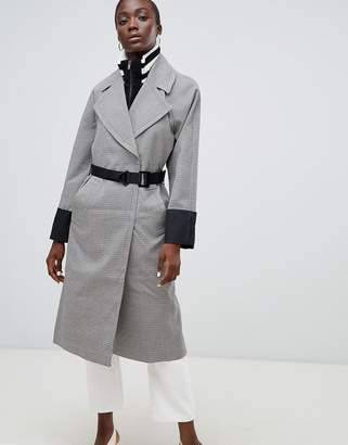 Asos Design Check Coat with Tipped Rib Funnel Neck and Belt